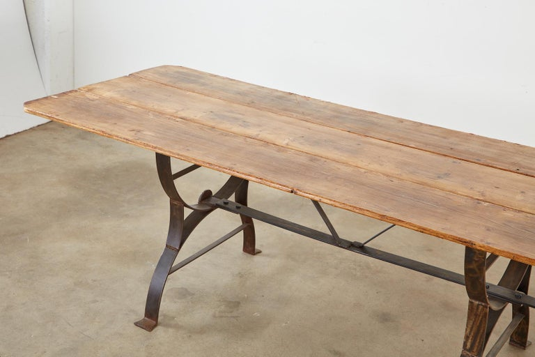 Monumental Pine Harvest Farm Table with Iron Trestle Base For Sale 5