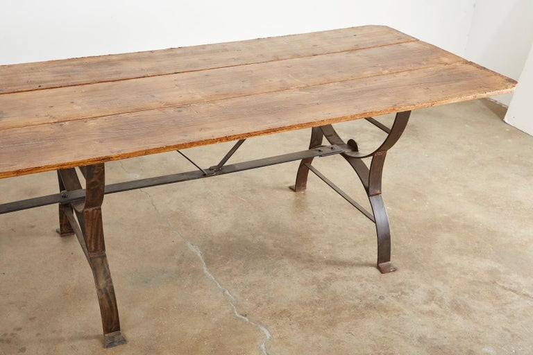 Monumental Pine Harvest Farm Table with Iron Trestle Base For Sale 6