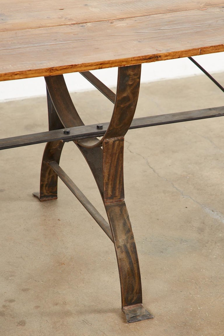 Monumental Pine Harvest Farm Table with Iron Trestle Base For Sale 7
