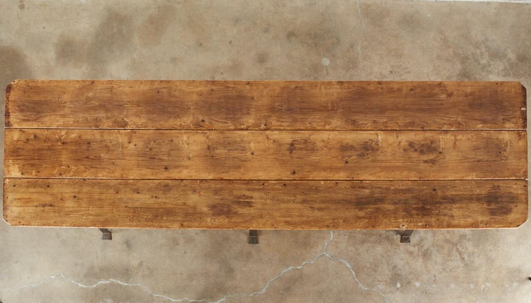 Cast Monumental Pine Harvest Farm Table with Iron Trestle Base For Sale