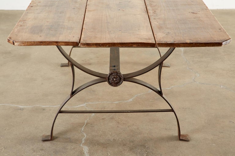 Monumental Pine Harvest Farm Table with Iron Trestle Base For Sale 2