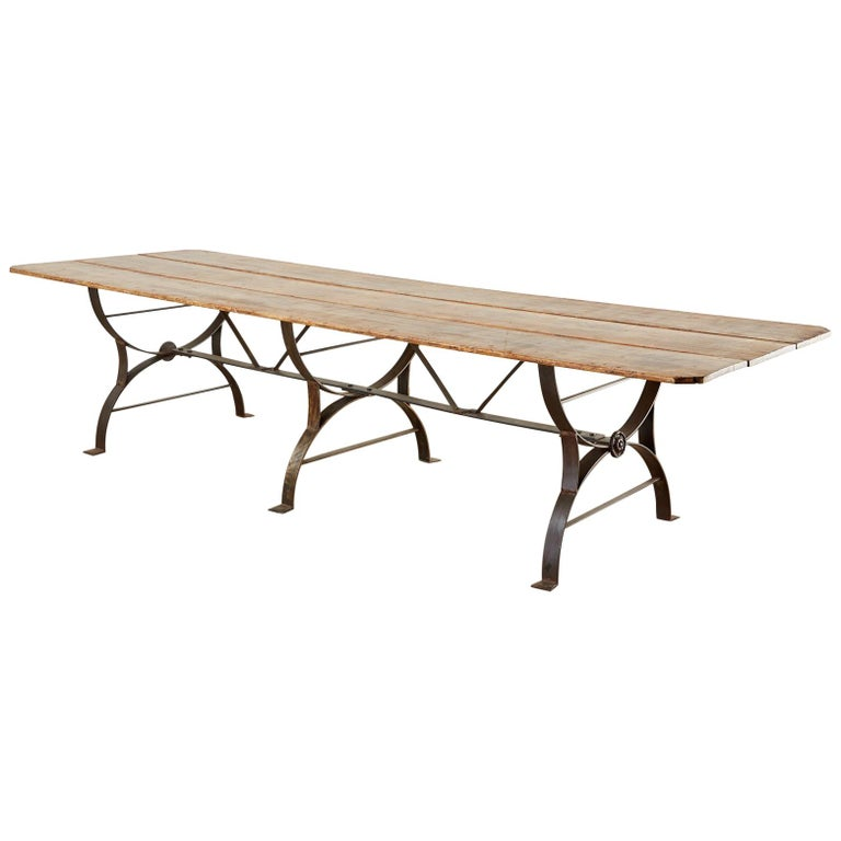 Monumental Pine Harvest Farm Table with Iron Trestle Base For Sale