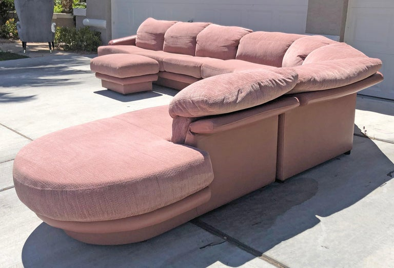 Mid-Century Modern Monumental Pink Vladimir Kagan Sectional for Preview For Sale