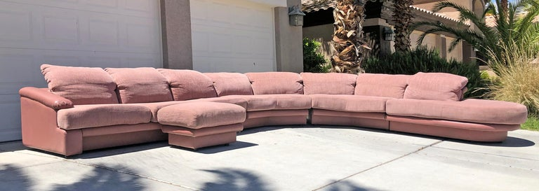 Monumental Pink Vladimir Kagan Sectional for Preview In Good Condition For Sale In Las Vegas, NV