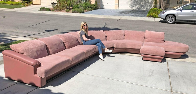 Monumental Pink Vladimir Kagan Sectional for Preview For Sale 3
