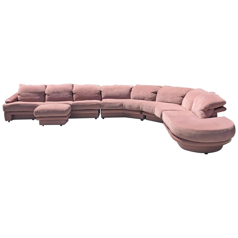 Monumental Pink Vladimir Kagan Sectional for Preview For Sale