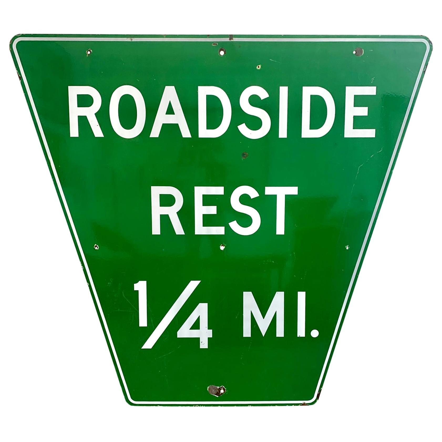 Monumental Porcelain Roadside Rest Highway Sign