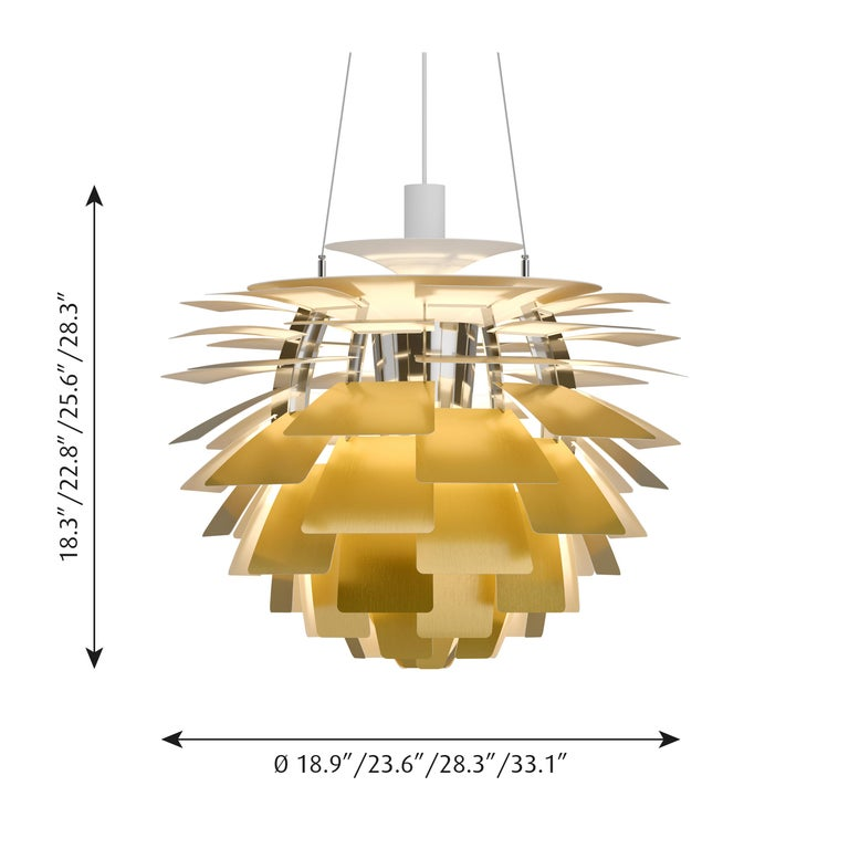 Monumental Poul Henningsen brass PH Artichoke chandelier for Louis Poulsen. This monumental pendant is the largest size produced. The PH Artichoke pendant Light was designed in 1958 by Poul Henningsen for the Langelinie Pavillonen restaurant in