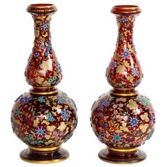 Monumental Pr Moser jeweled Ruby-Red Overlay Two-Piece 24k Gold, Enameled Vases