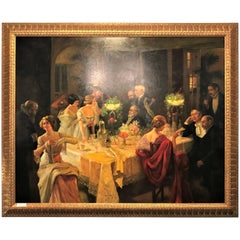 Monumental Print Painting Oil on Canvas of a Party Scene in a Great Gilt Frame