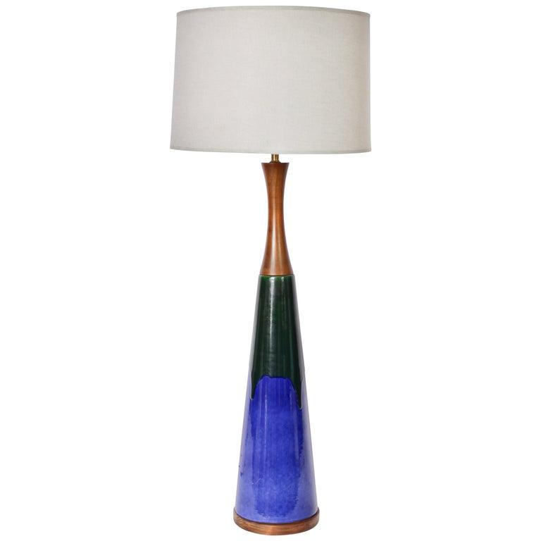 Monumental Raymor High Gloss Royal Blue with Deep Green Drip Ceramic Table Lamp For Sale