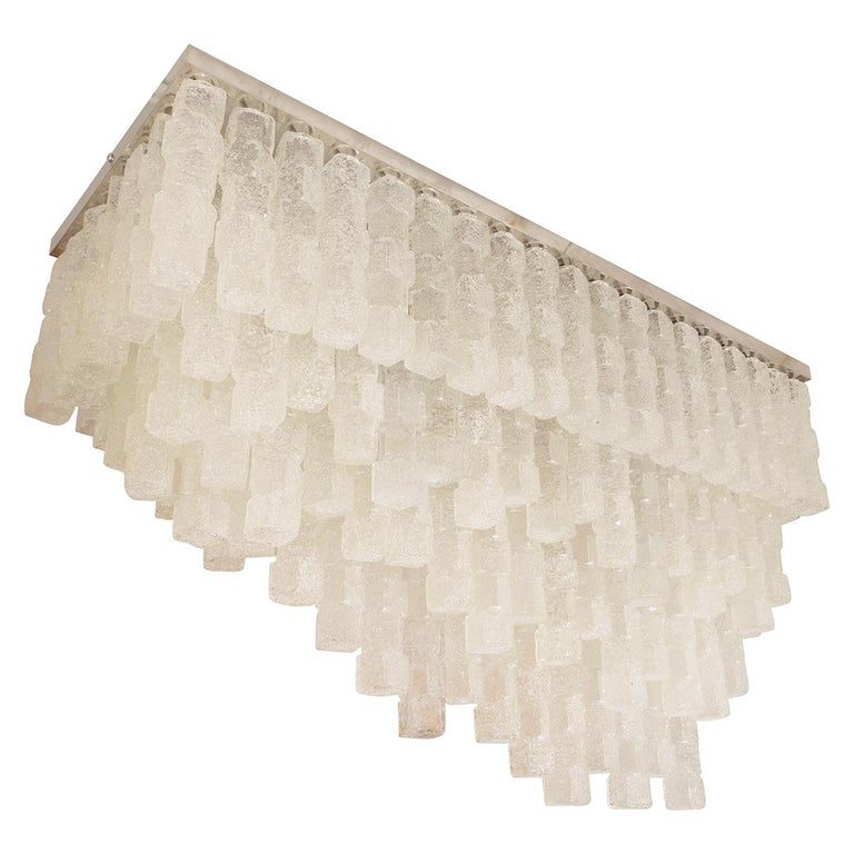 """Monumental Rectilinear Flush Mount with Staggered """"Ice"""" Glass Elements For Sale"""