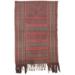 Monumental Red and Blue Antique Turkish Woven Colorful Wall Hanging with Fringes