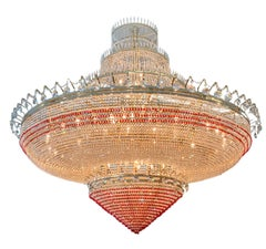 Monumental Red and Clear Crystal Ballroom Chandelier