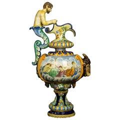 Monumental Renaissance Revival Vase Majolica Italy 19th Century Hand Painted