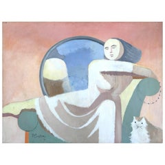 Monumental Robert Casper Modern Abstract Painting of a Woman and Cat, 1977