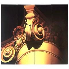 MonumentaL Robert Contois Quadriptych Oil Painting Architectural Column, 1985
