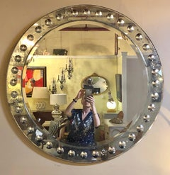 Monumental Round Bulls Eye Etched With Distressed Panel Art Deco Beveled Mirror