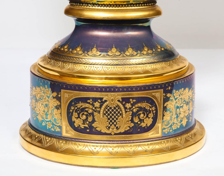 19th Century Monumental Royal Vienna Iridescent Porcelain Portrait Vase and Cover, Wagner For Sale