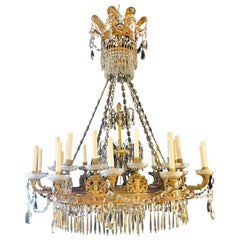 Monumental Neoclassical Style Empire 24-Light Doré Bronze & Crystal Chandelier