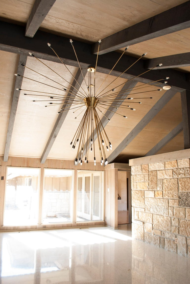 Mid-20th Century Monumental Scale 60-Arm Brass Midcentury Sputnik Chandelier For Sale