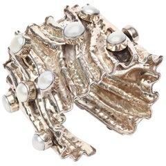 Monumental & Sculptural Sterling Silver & Pearl Cuff Bracelet