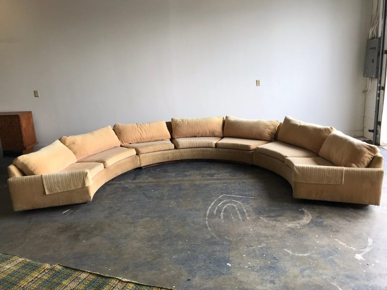 Mid-Century Modern Monumental Semi-Circular Sofa by Milo Baughman for Thayer Coggin, Rosewood Base For Sale