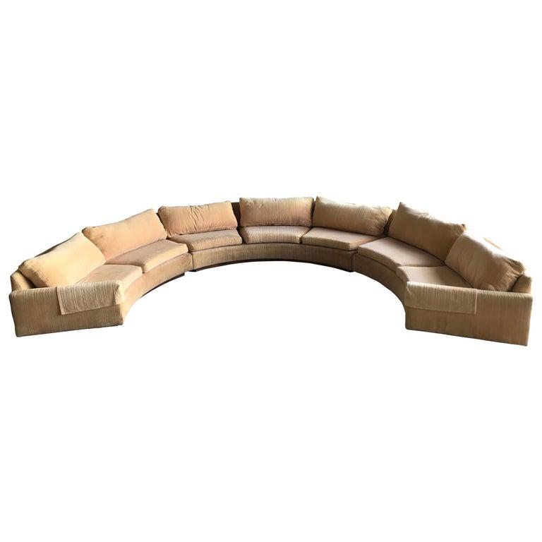 Monumental Semi-Circular Sofa by Milo Baughman for Thayer Coggin, Rosewood Base For Sale