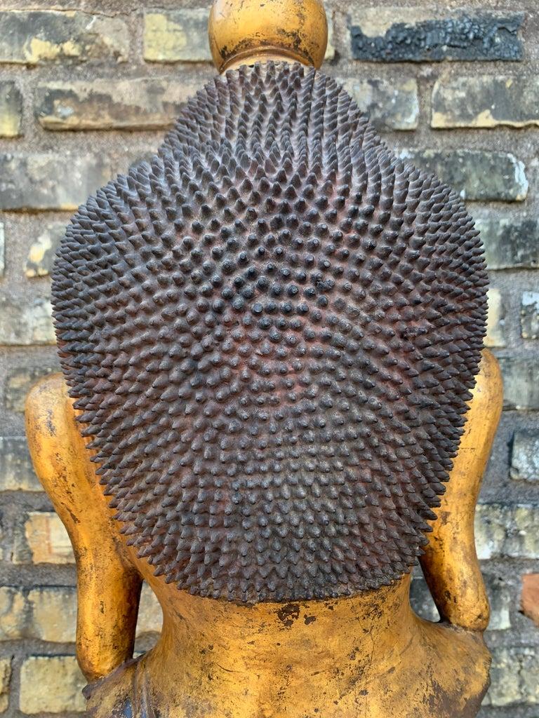 Monumental Shan Burmese Gilt Lacquer Buddha Head, Early 20th Century For Sale 12