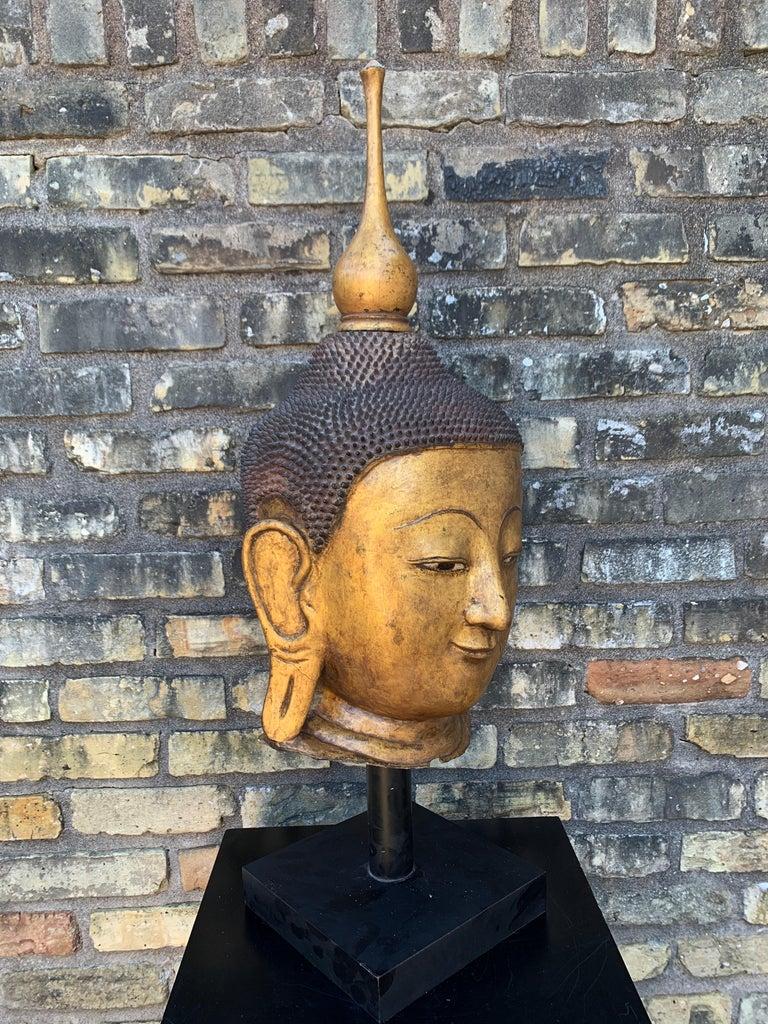 Monumental Shan Burmese Gilt Lacquer Buddha Head, Early 20th Century For Sale 4
