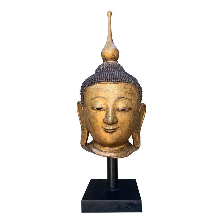 Monumental Shan Burmese Gilt Lacquer Buddha Head, Early 20th Century For Sale