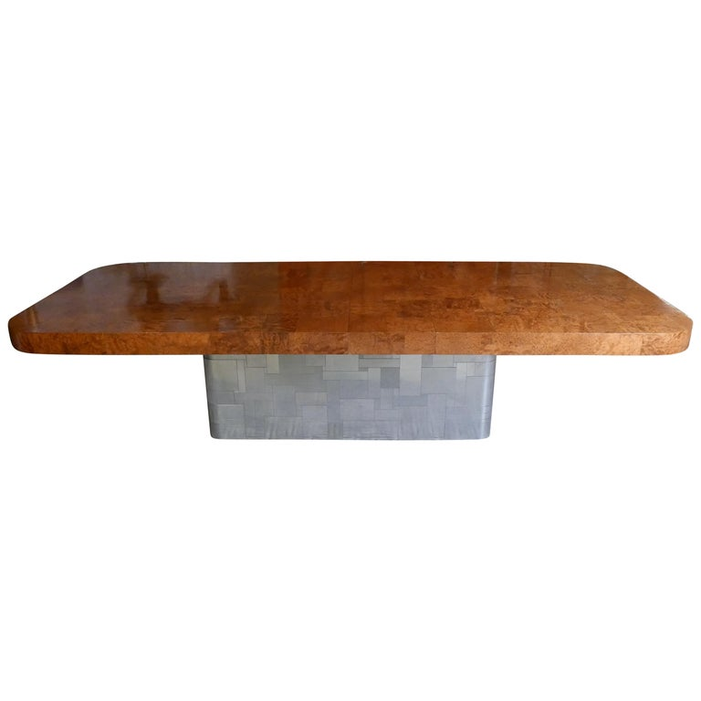 "Monumental Signed Paul Evans Burled & Chrome ""Cityscape"" Extension Dining Table For Sale"