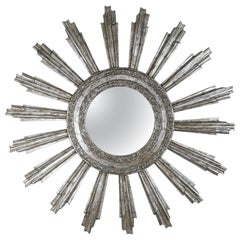 Monumental Silvered Sunburst Mirror by Melissa Levinson