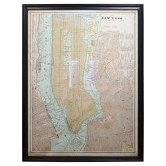 Monumental Solid Oak Framed New York City Map