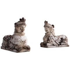 Monumental Solid Wood Carved Sphinxes, England, circa 1860