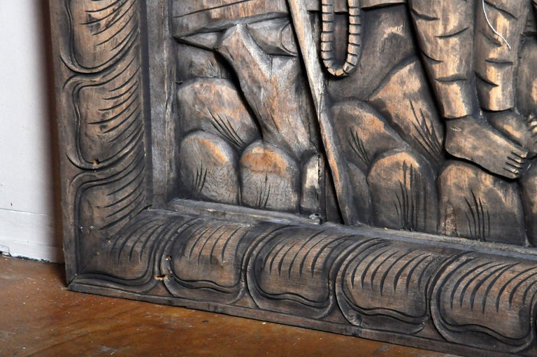 Monumental Southeast Asian Teakwood Carved Panel of Buddha For Sale 6
