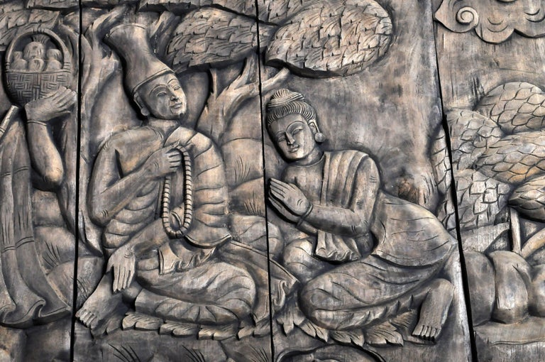 Monumental Southeast Asian Teakwood Carved Panel of Buddha For Sale 13