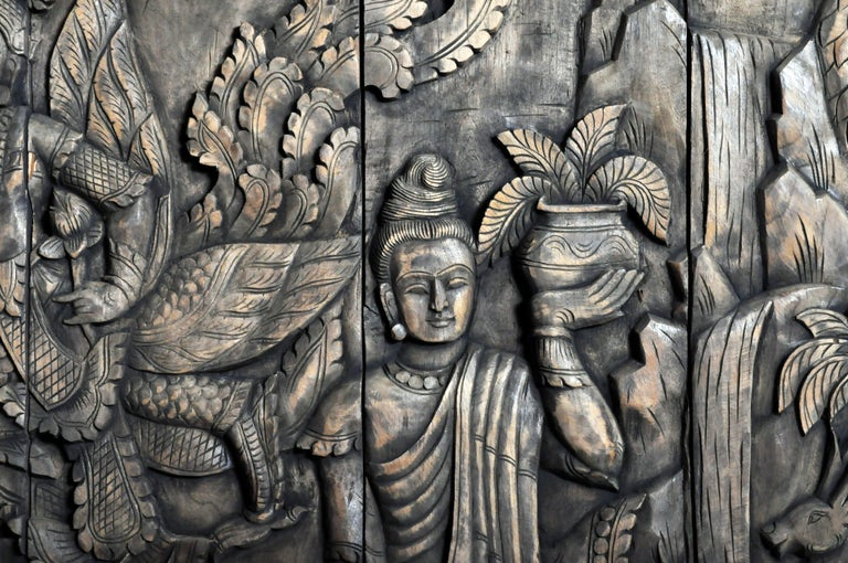 Monumental Southeast Asian Teakwood Carved Panel of Buddha For Sale 14