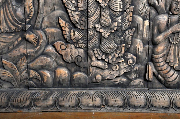 Monumental Southeast Asian Teakwood Carved Panel of Buddha For Sale 2