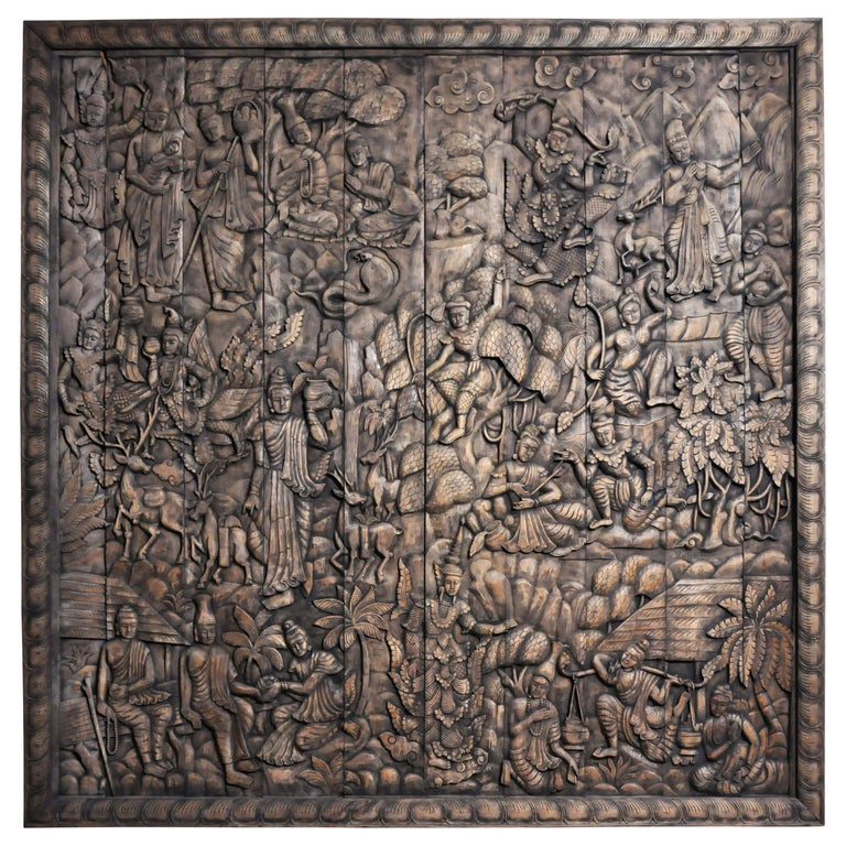 Monumental Southeast Asian Teakwood Carved Panel of Buddha For Sale