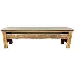 Monumental Spanish Carved Wood Bench with Linen Upholstery