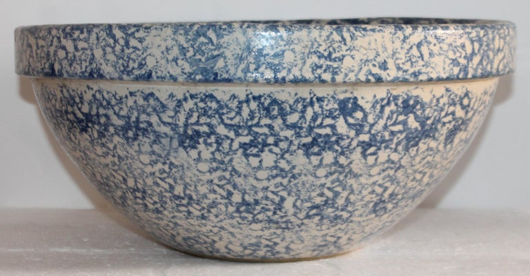 Adirondack Monumental Sponge Ware Pottery Bowl For Sale