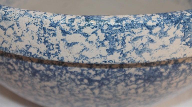 American Monumental Sponge Ware Pottery Bowl For Sale