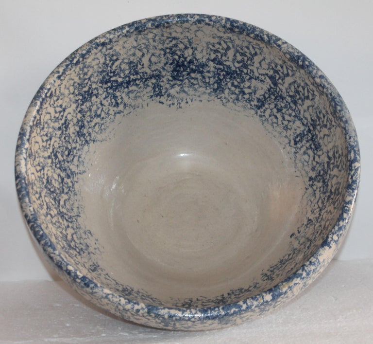 Hand-Crafted Monumental Sponge Ware Pottery Bowl For Sale