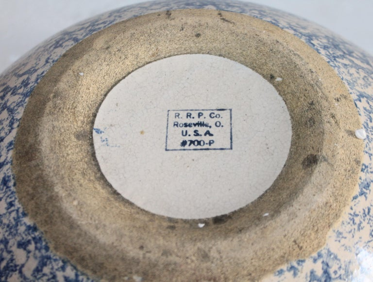 20th Century Monumental Sponge Ware Pottery Bowl For Sale