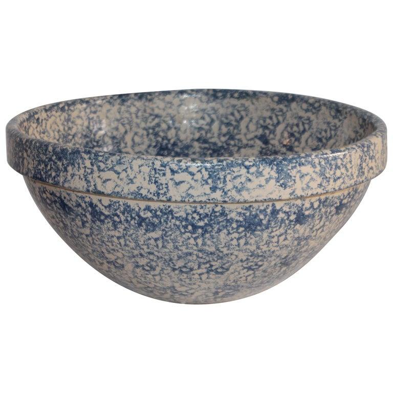 Monumental Sponge Ware Pottery Bowl For Sale