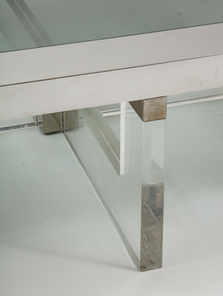 Monumental Square Coffee Table, Chrome, Brass and Plexiglass, 1970s, Italy In Good Condition For Sale In New York, NY