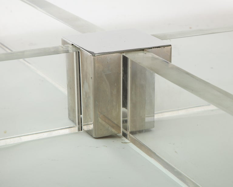 Monumental Square Coffee Table, Chrome, Brass and Plexiglass, 1970s, Italy For Sale 1