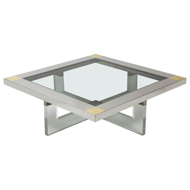 Italian Monumental Square Coffee Table, Chrome, Brass and Plexiglass, 1970s, Italy For Sale
