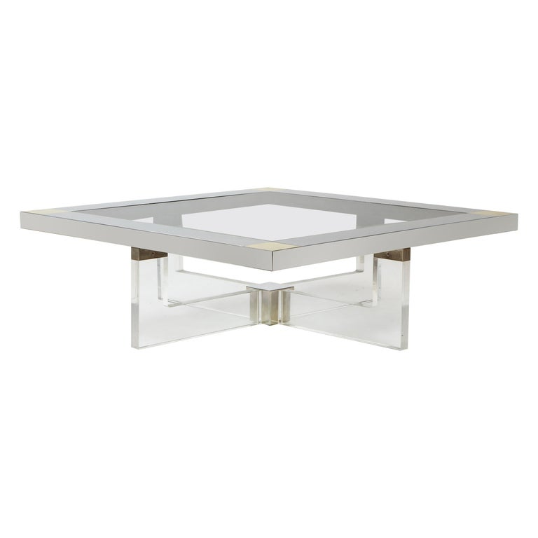 Monumental Square Coffee Table, Chrome, Brass and Plexiglass, 1970s, Italy For Sale